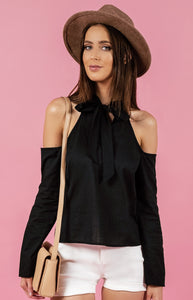 COLD SHOULDER NECK TIE TOP
