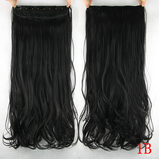 60cm Long Synthetic Hair Clip In Hair Extension Heat Resistant