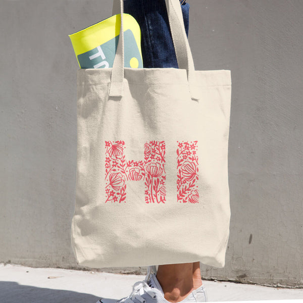 Hi Bye Floral Cotton Tote Bag