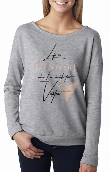 Life Is Delicious - Women's Terry Long Sleeve Scoopneck T-Shirt