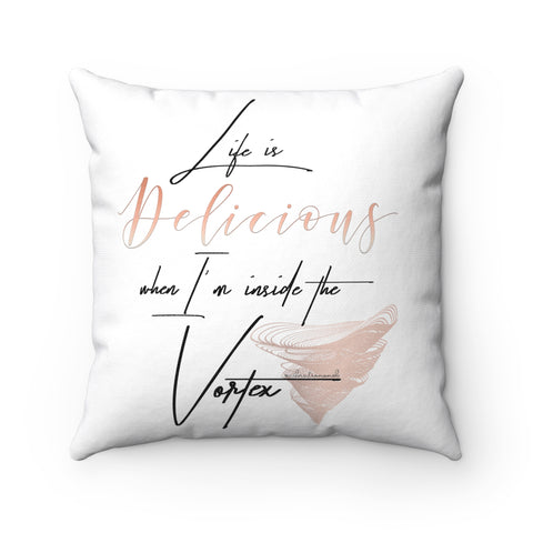 Life Is Delicious w/Vibration Snob Logo - Spun Polyester Square Pillow | 4 Sizes