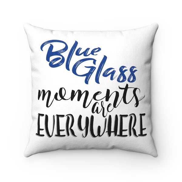 Blue Glass Moments w/Vibration Snob Logo - Spun Polyester Square Pillow | 4 Sizes
