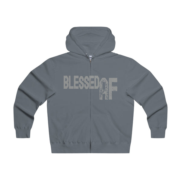 Blessed AF - Men's Premium Lightweight Super Soft Slim Fit Zip Hooded Sweatshirt
