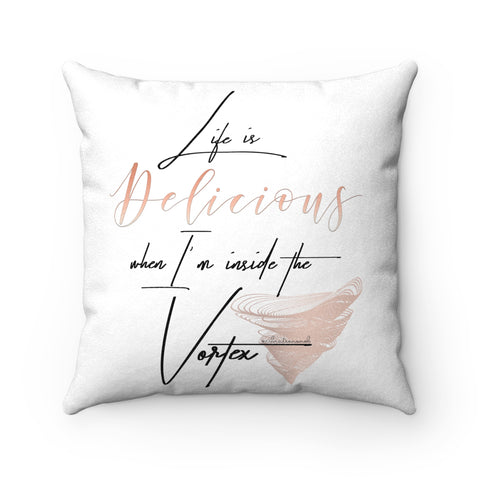 Life Is Delicious w/Vibration Snob Logo - Faux Suede Square Pillow | 4 Sizes