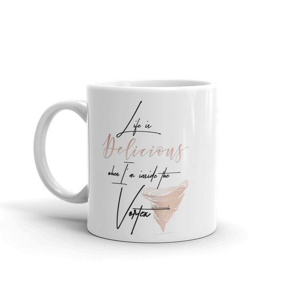 Life Is Delicious & Vibration Snob Logo - Mug