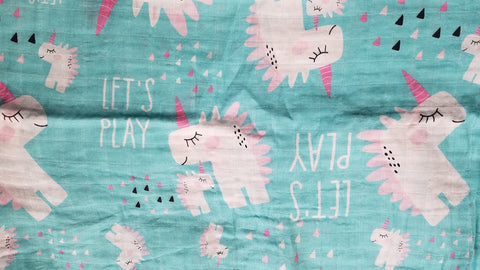 LETS PLAY WITH UNICORNS SWADDLE BLANKET