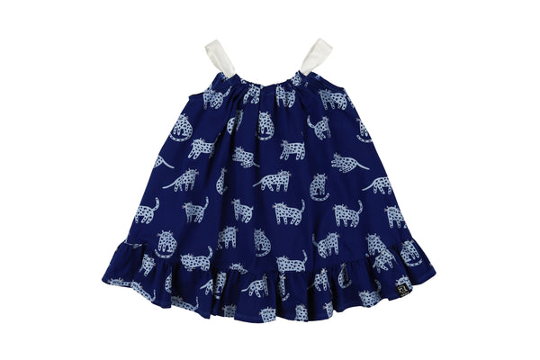 BOW DRESS - BERRY BLUE CHEETAH
