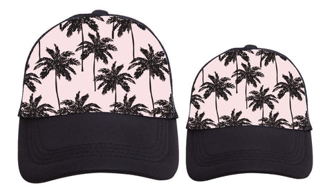 Mama/Toddler Pink Palm Hat Set