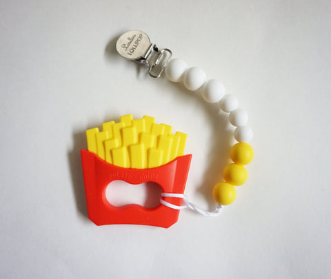 FRIES TEETHER W/PACIFIER CLIP