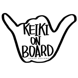 SHAKA KEIKI ON BOARD WHITE VINYL STICKER