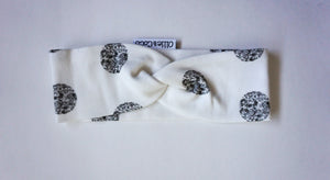 SILVER DOTS/WHITE TWISTIE HEADBAND