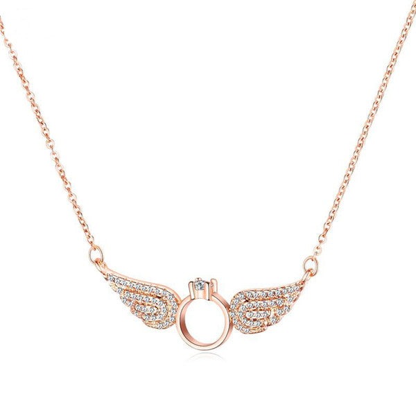 Angel Wings With Diamond Ring Necklace And Girlfriend Accessories Gardeniajewel
