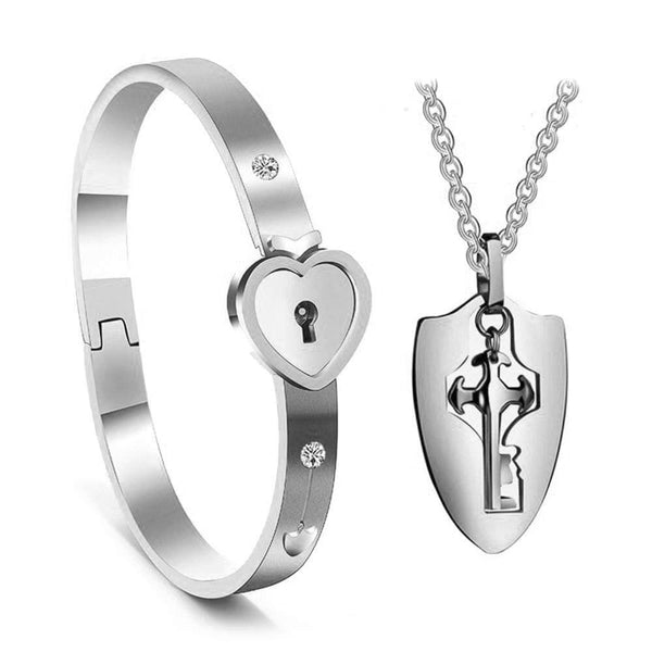 His and Hers Matching Set, Titanium Key Pendants Necklace Heart Bangle Bracelet Prevent Allergy&Fade Couples Lock Jewelry Sets for Valentines Birthday Gifts Silver