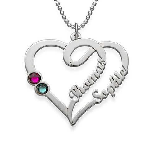 Individualized customized heart-shaped Name Necklace 925 Sterling Silver