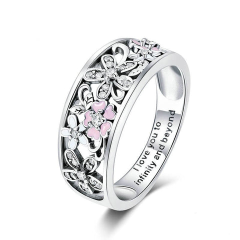 Pure Silver S925 Pink Cherry Blossom Diamond Ring