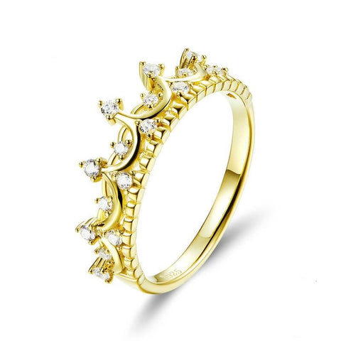 Queen's crown 925 Sterling Silver Ring gold-plated European and American fashion jewelry ring