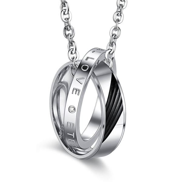 Electroplating Couple Necklace in Fashionable Titanium Steel Furnace with Drilled Feather
