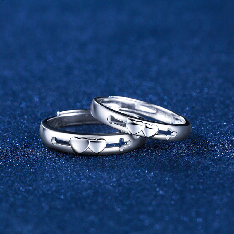 Sterling Silver Couple Promise Rings Resizable