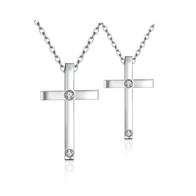 Silver Couple Cross Necklace