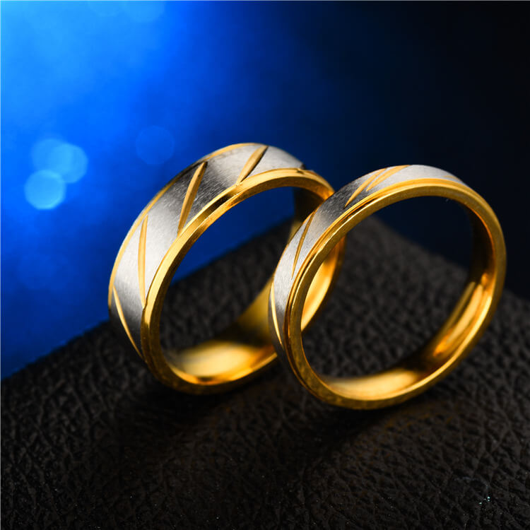 Stainless Gold Couple Promise Rings