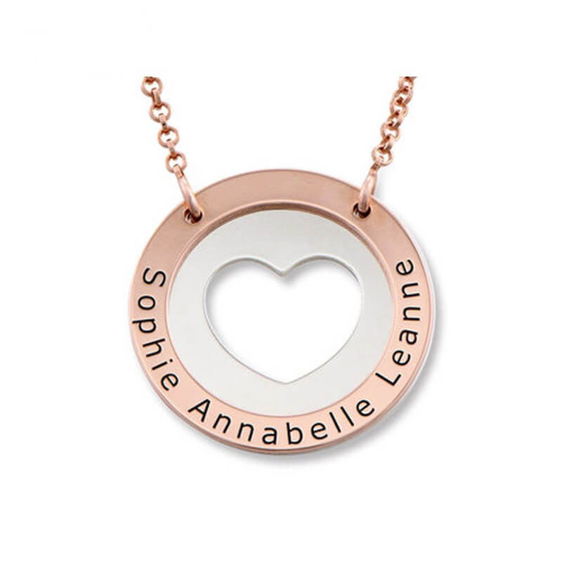 Engraved Heart Name Necklace Sterling Silver Rose Gold Plated