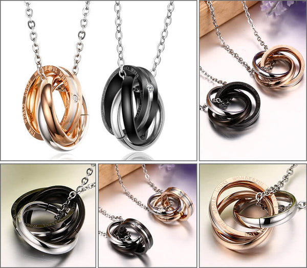 Black and Rose Gold Interlocking Titanium Necklace