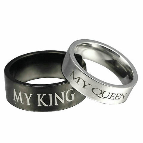 My King My Queen Couple Promise Ring Set