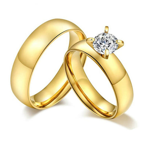 Matching Gold Couple Promise Rings Stainless Steel