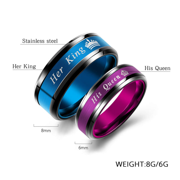 Her King His Queen Couple Promise Rings