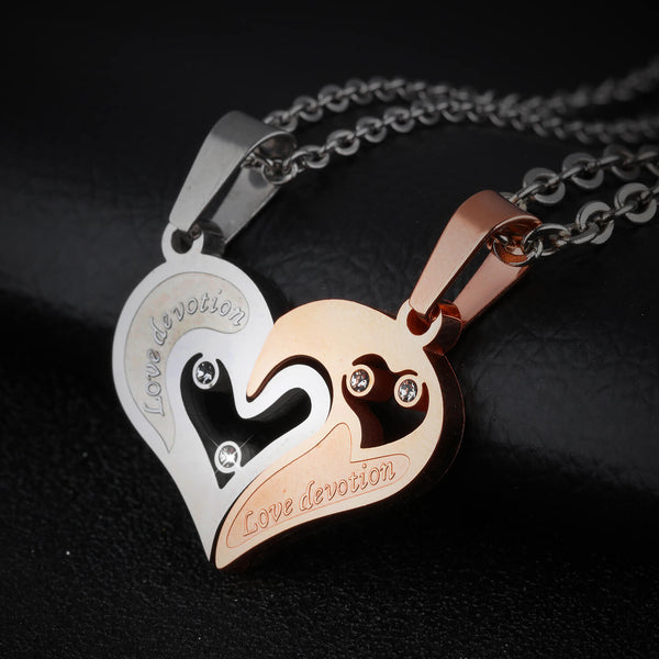 Gold Matching Heart Couple Necklaces