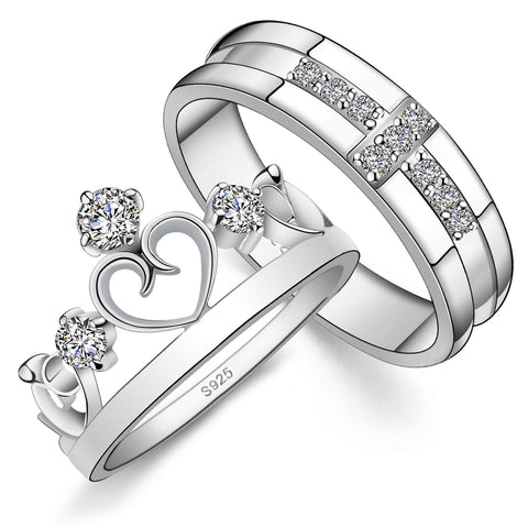 Silver Crown Couple Rings