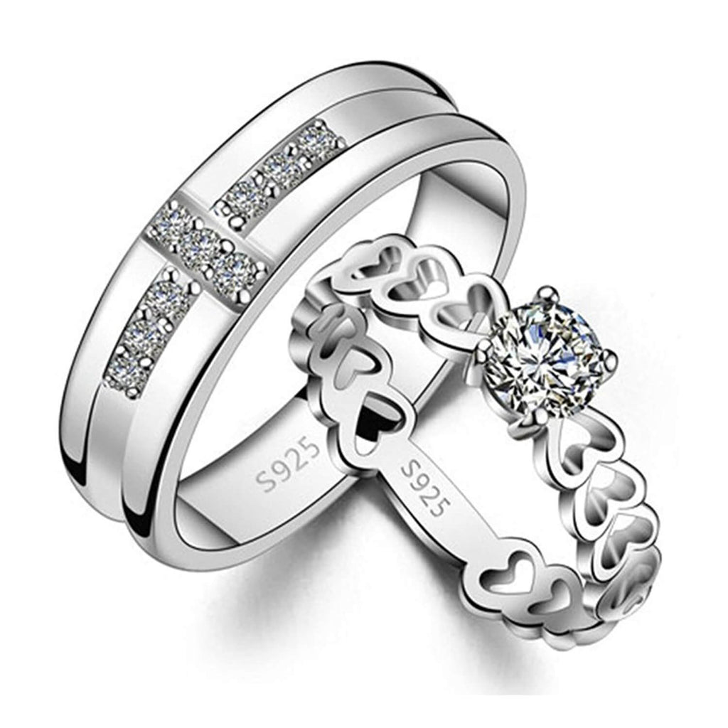Sterling Silver Matching Him And Her Promise Rings Couple Wedding