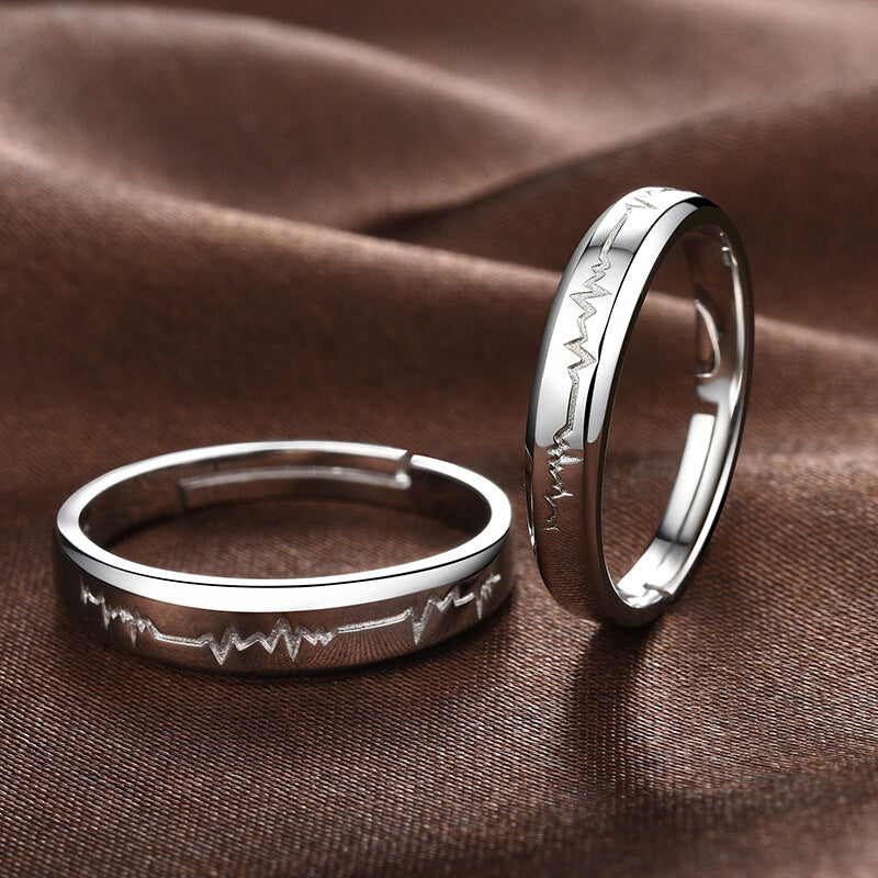 4f022fe034f6b Silver Heartbeat Couple Rings