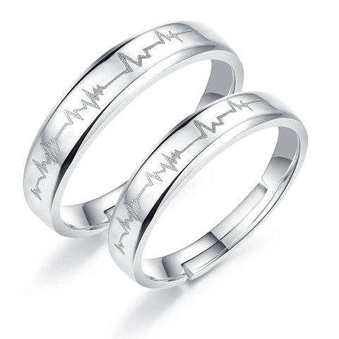 Silver Heartbeat Couple Rings