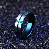 Metallic Blue Cross Ring for Men