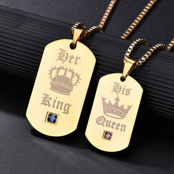 Her King His Queen Gold Tag Necklace
