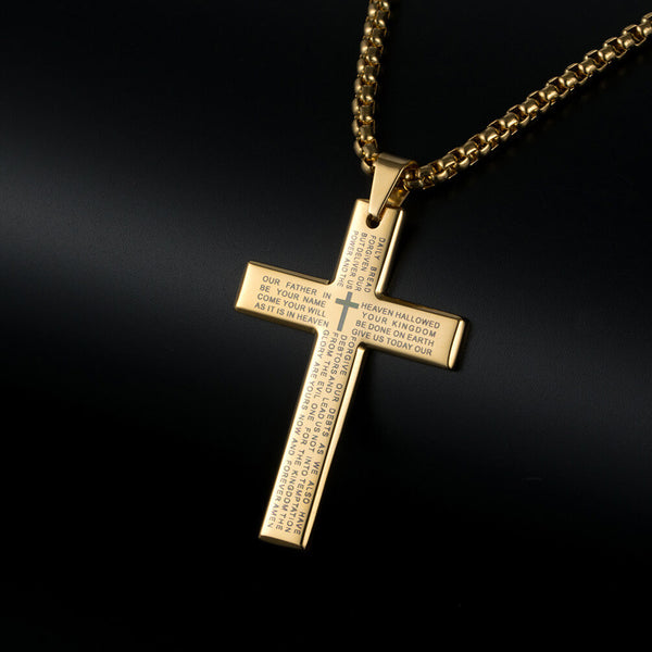 Man's Cross Necklace Black/Gold/Silver