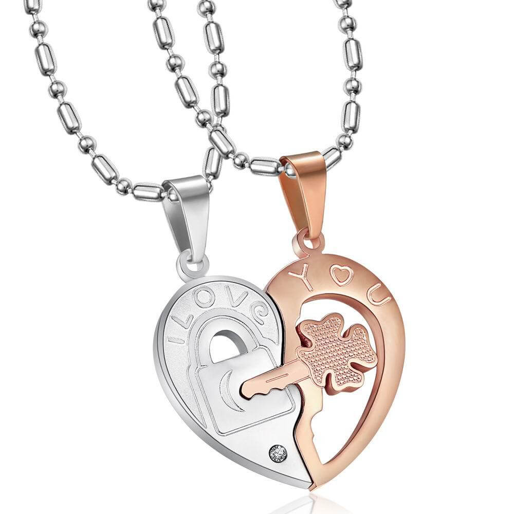 Rose Gold Heart Puzzle Necklace Couple Set