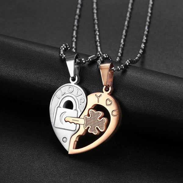 Rose Gold Heart Puzzle Necklace
