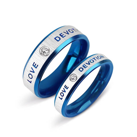 Blue Couples Promise Rings