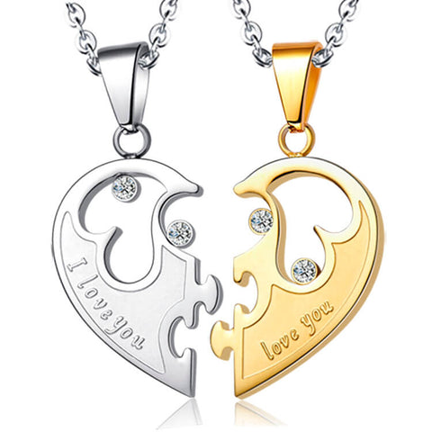 Matching Heart Necklaces for Couples /2pcs