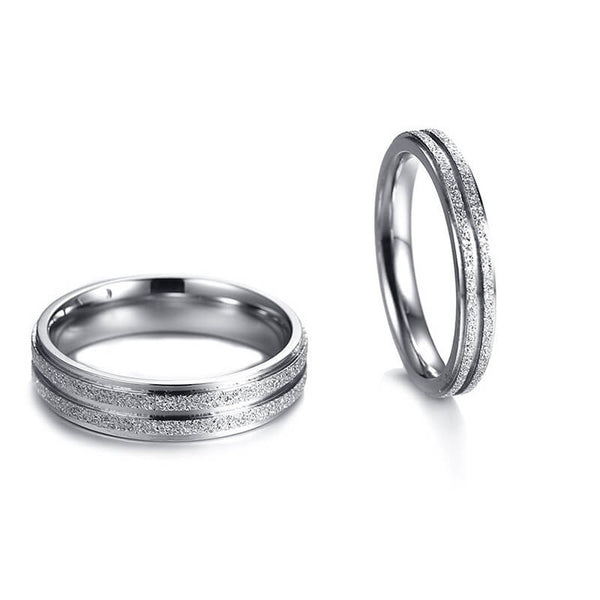 Sandblasted Couple Rings