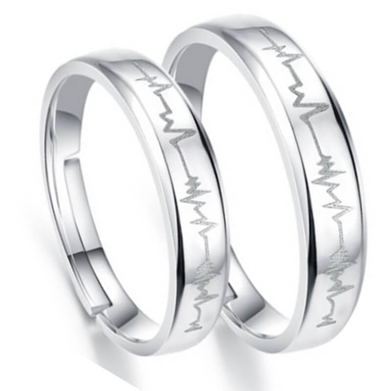 9da56825131d5 Adjustable Heartbeat Couple Open Rings