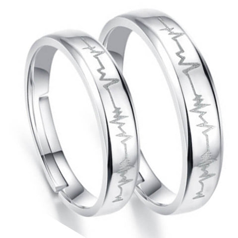 Adjustable Heartbeat Couple Open Rings
