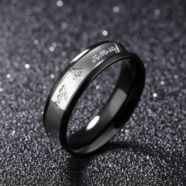 "Matching ""Forever Love"" Titanium Couple Ring"