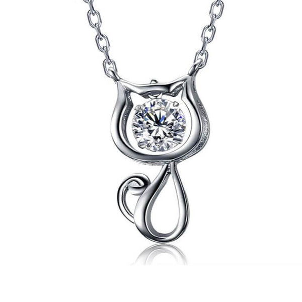 Cute Cat Crystal Necklace
