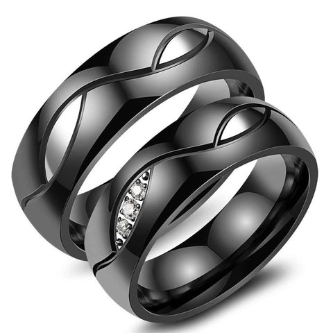 Black Couples Wedding Band Set
