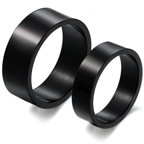 Personalized His and Hers Black Couple Rings