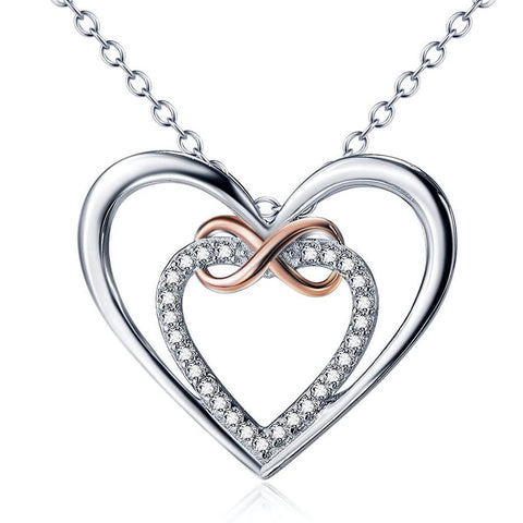 Infinity Love Heart Pendant Necklace