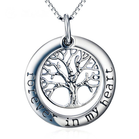 Family Tree Circle of Life Pendant Necklace